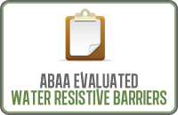 Abaa Evaluated Water Resistive Barriers